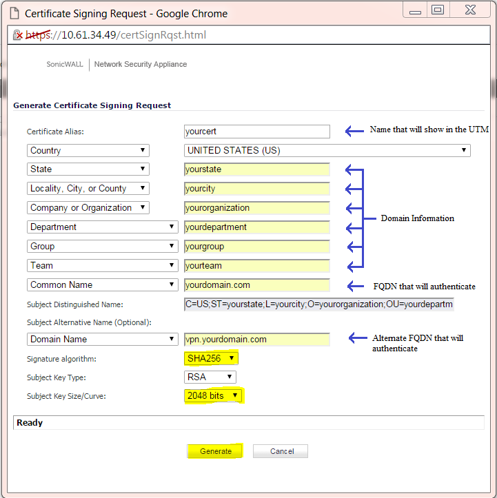Certificate Signing Request Fields