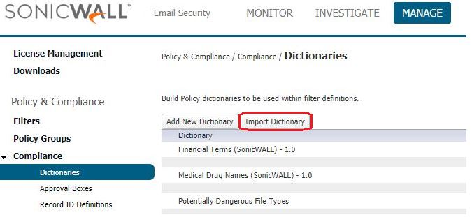 Import Dictionary