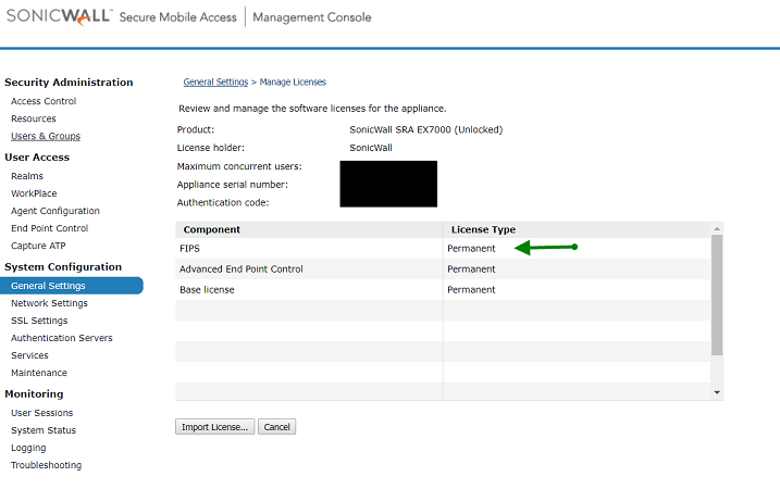 Import License that FIPS service added