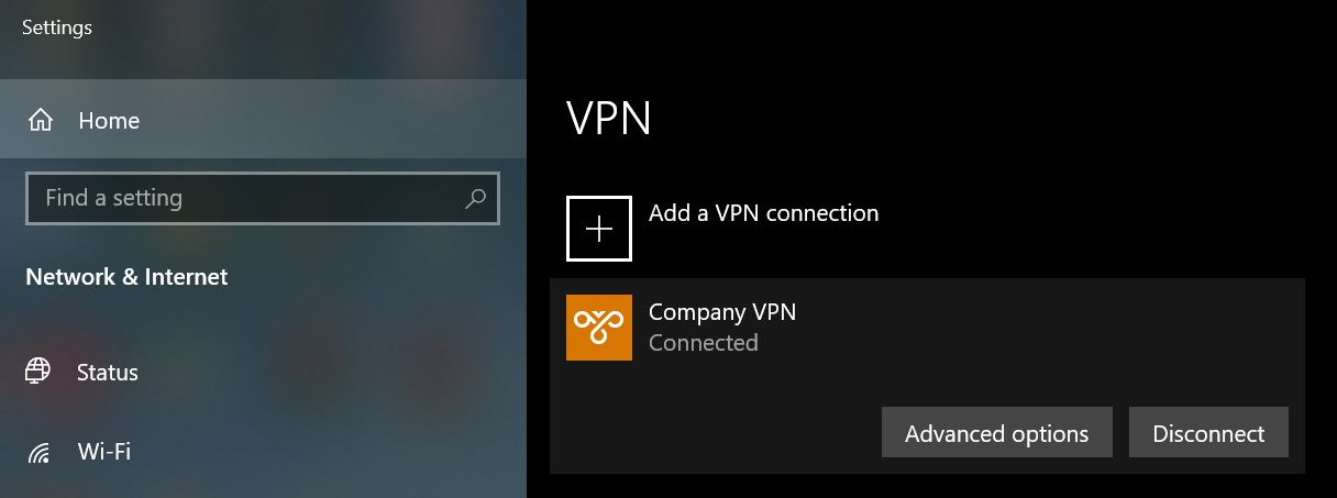 Mobile Connect Windows VPN connected
